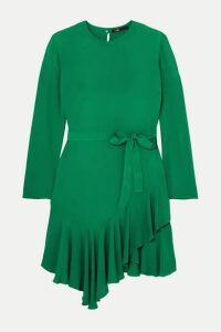 Maje - Romea Belted Asymmetric Ruffled Crepe Dress - Green