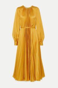 Oscar de la Renta - Pleated Satin-crepe Midi Dress - Saffron