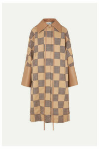 Loewe - Oversized Patchwork Houndstooth Cotton And Leather Coat - Beige