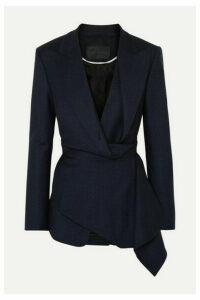 Proenza Schouler - Draped Checked Wool-blend Wrap Blazer - Navy
