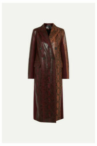 Givenchy - Double-breasted Python-effect Leather And Wool-twill Coat - Burgundy