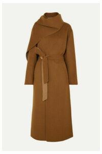 Deveaux - Draped Belted Wool Coat - Brown