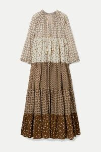 Yvonne S - Hippy Tiered Printed Cotton-voile Maxi Dress - Brown
