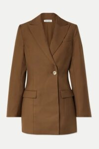 ANNA QUAN - Sienna Double-breasted Twill Blazer - Brown