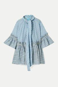Yvonne S - Angelica Ruffled Printed Linen Tunic - Light blue