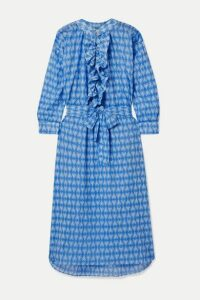 Yvonne S - Frill Oversized Printed Cotton-voile Midi Dress - Azure