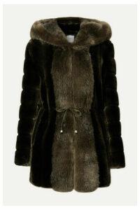 Faz Not Fur - Skate Moss Hooded Two-tone Faux Fur Coat - Army green