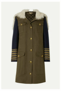 Michael Kors Collection - Button-embellished Shearling-trimmed Wool And Cotton-twill Coat - Army green