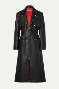 Alexander Wang - Belted Leather Trench Coat - Black