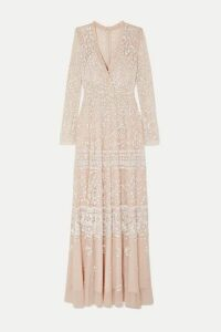 Needle & Thread - Aurora Sequined Tulle Gown - Blush