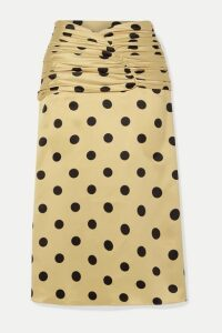 Orseund Iris - Romantique Ruched Polka-dot Satin Skirt - Beige