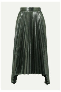 Altuzarra - Freya Asymmetric Pleated Lamé Midi Skirt - Dark gray