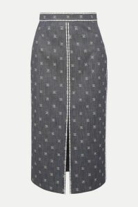 Fendi - Embroidered Denim Midi Skirt - Blue
