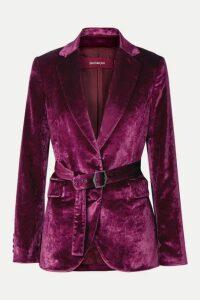 Sies Marjan - Terry Belted Crushed-velvet Blazer - Violet