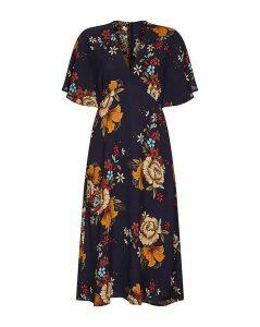 Yumi Curves Floral Kimono Sleeve Midi Dr
