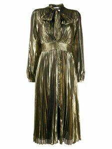Equipment pleated long-sleeve shirt dress - GOLD