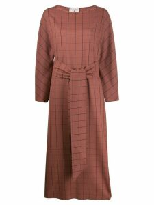 Danielapi checked tie-fastening maxi dress - PINK