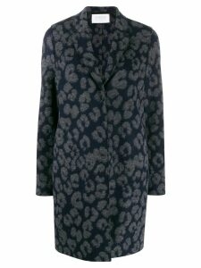 Harris Wharf London leopard single breasted coat - Blue