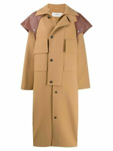 LANVIN oversized button up coat - Brown