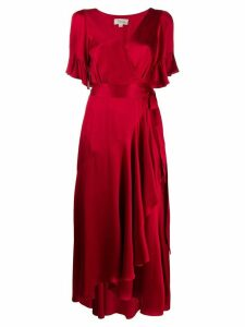 Temperley London asymmetric tie fastened dress - Red