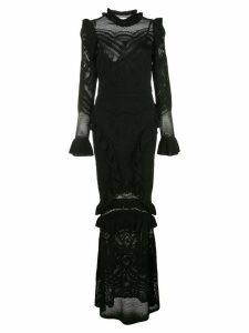 Alexis Ceecee crochet ruffle trim dress - Black