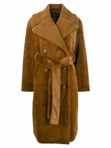 Stine Goya Happy textured belted coat - Brown