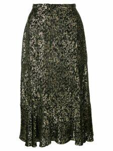 Altuzarra Clementine ruffled metallic skirt - Black