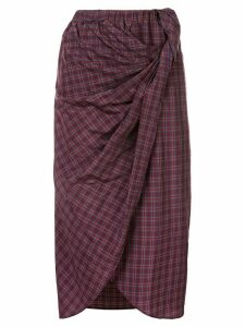 Muller Of Yoshiokubo check midi skirt - Purple