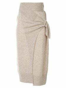 Christopher Esber draped wrap midi skirt - Neutrals