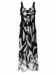 Lee Mathews abstract print gathered dress - Black