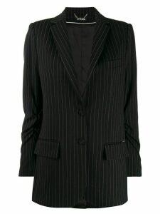 Styland pinstripe ruched sleeve blazer - Black