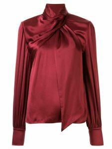 Layeur tie-neck silk blouse - Red