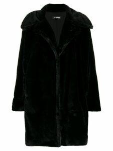 Styland faux fur oversized coat - Black