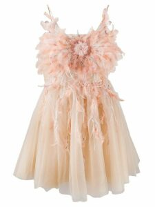 Loulou feather embellished mini dress - NEUTRALS