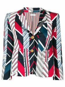 Thom Browne Repp Stripe Tie Collage Sport Coat - Blue