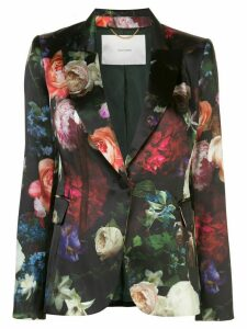 Adam Lippes floral print satin finish blazer - Black