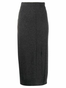 Pringle of Scotland Guernsey stitch side slit skirt - Grey