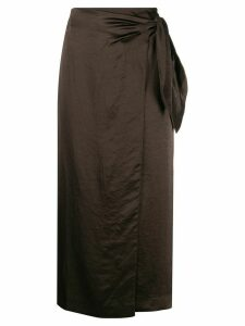 Nanushka Amas satin sarong skirt - Brown