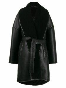 Balenciaga oversized leather-look coat - Black