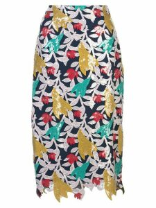 Prabal Gurung floral appliqué pencil skirt - Blue