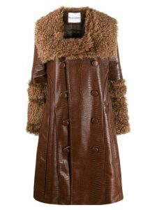 House of Sunny croco double-breasted coat - Brown