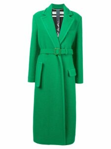 Off-White belted collared coat - Green