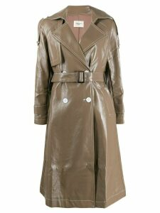 Jovonna Katia2 faux-leather trench coat - NEUTRALS