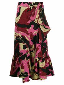 La Doublej Jazzy ruffled midi skirt - PINK
