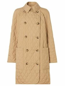 Burberry diamond-quilted double-breasted coat - BISCUIT