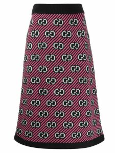 Gucci GG motif knitted midi skirt - PINK