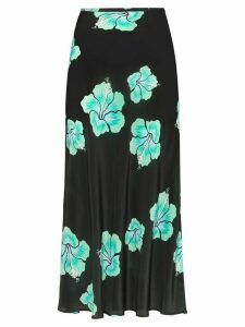 Rixo Kelly floral midi slip skirt - Black