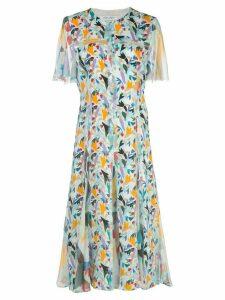 Prabal Gurung floral-print collarless shirt dress - Blue