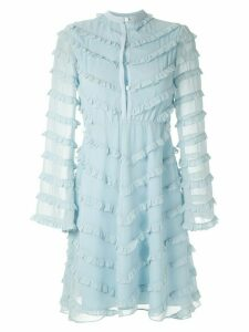 Olympiah Damasco ruffled short dress - Blue