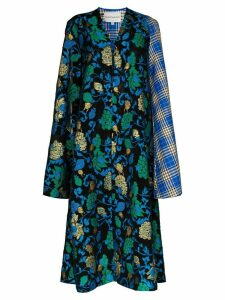 Shuting Qiu split sleeve floral midi dress - Blue